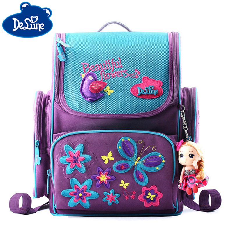 Delune Kids Boys Orthopedic Schoolbag Brand 1-5 Grade Book Satchel Primary Waterproof Child Girls Backpack 3D Animal School Bags
