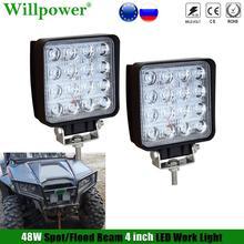 مصباح أمامي على الطرق الوعرة 4 بوصات ، مصباح أمامي 48 وات 4 بوصات لسيارة Jeep JK Polaris UTV 4x4 SUV ، مصباح عمل LED مربع ، مصباح ضباب للقيادة