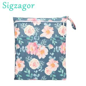 [Sigzagor]Wet Dry Bag With Two Zippered For Baby Diapers Nappies Waterproof Reusable 36cmx29cm100 Designs(China)