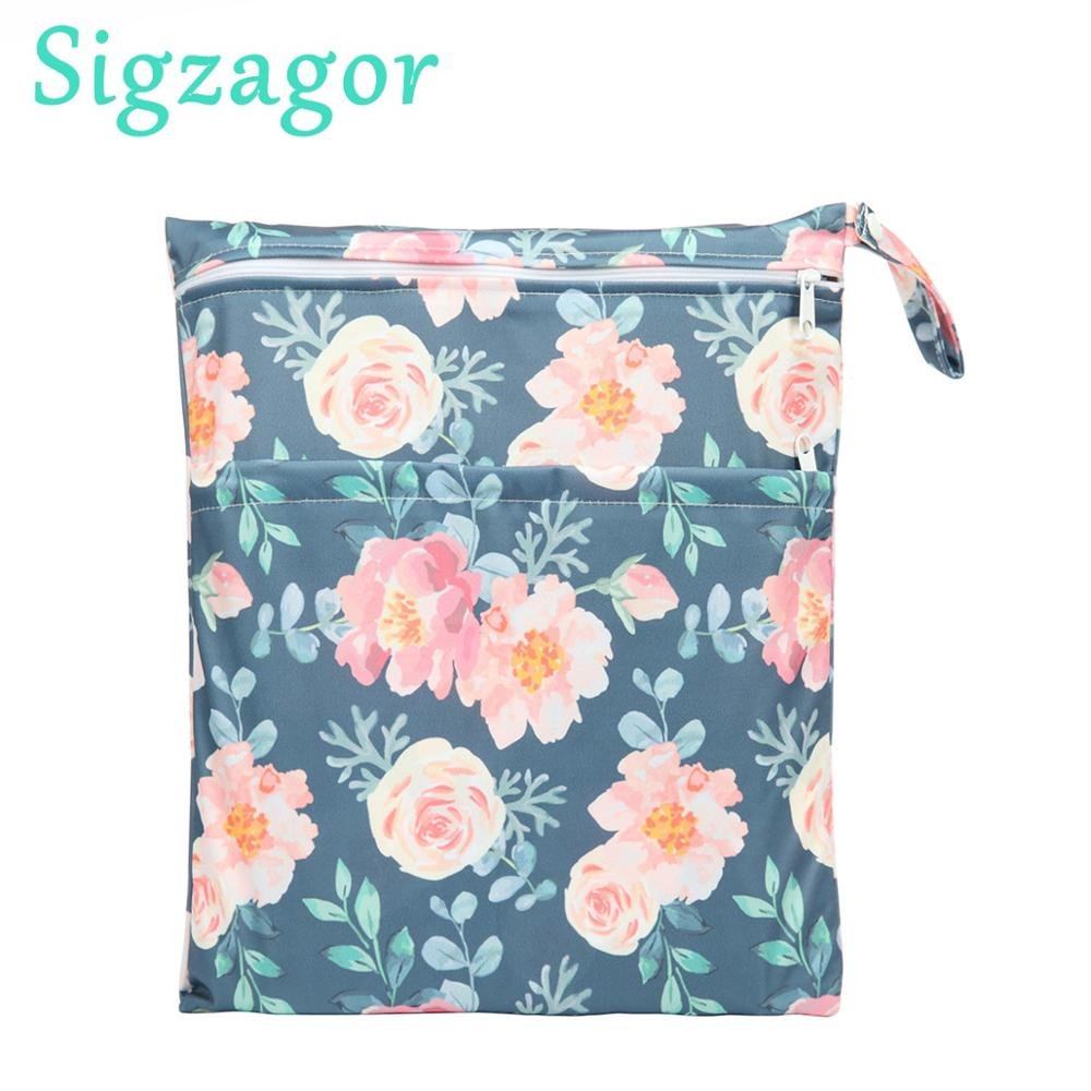 Sigzagor Wet Dry Bag With Two Zippered Baby Diaper Bag Nappy Bag Waterproof Reusable [Sigzagor]Wet Dry Bag With Two Zippered Baby Diaper Bag Nappy Bag,Waterproof Reusable 36cmx29cm Owl&Tree 100 Designs