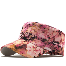 Military Hats Cotton-Caps Flat-Top Classic Adjustable Vintage Women Winter And for Girls