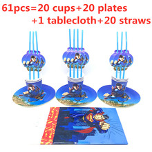 61/31pcs Superman Superhero Kids Birthday Party Supplies Set Tablecloth Cup Plate Straw Event Decoration Boys Kids Party Favors