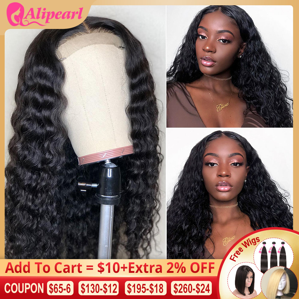 6x6 Deep Wave Lace Closure Wig Human Hair Wigs For Black Women Pre Plucked 150 180 Density Brazilian Lace Wigs AliPearl Hair Wig
