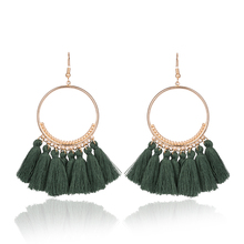 2020 Fashion Bohemian Ethnic Fringed Tassel Earrings for Women Golden Round Circle Ring Dangle Hanging Drop