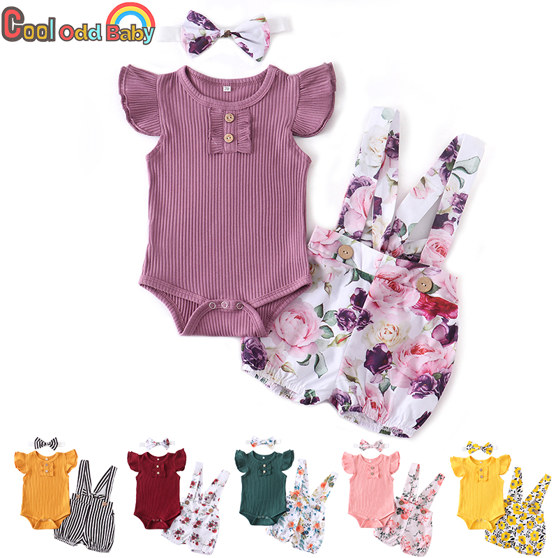 Newborn Baby Girl Clothes Set Summer Infant Outfits Solid Color Romper Flower Shorts Headband Fashion 3Pcs For Toddler Clothing