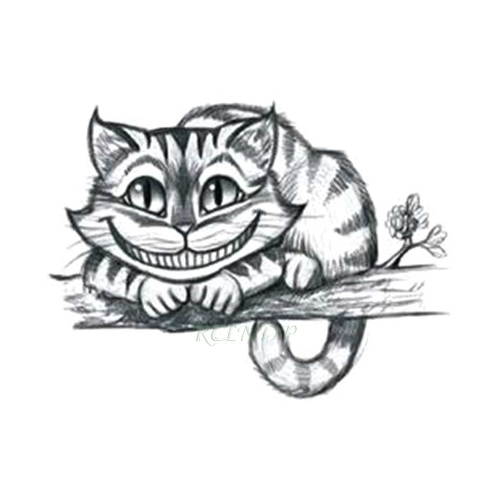Waterproof Temporary Tattoo Sticker Alice In Wonderland Cheshire Cat Laughing Cute Fake Tatto Flash Tatoo For Girls Women Men Aliexpress