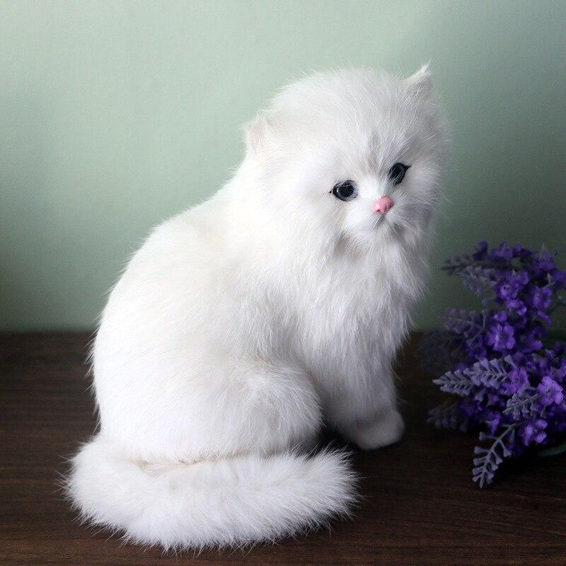 Realistic Cute Simulation Stuffed Plush White Persian Cats Toys Cat Dolls Table Decor Kids Boys Girls