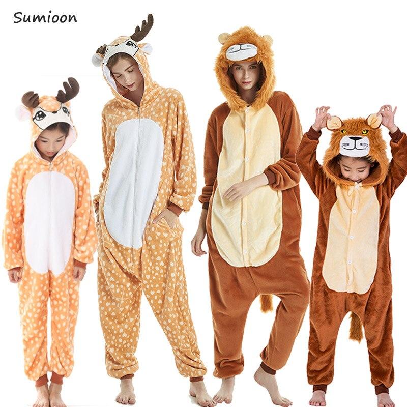 Kigurumi Pajamas For Women Girls Unicorn Animal Panda Onesie Baby Costume Boys Sleepwear Jumpsuit Licorne Winter Pyjamas Kids