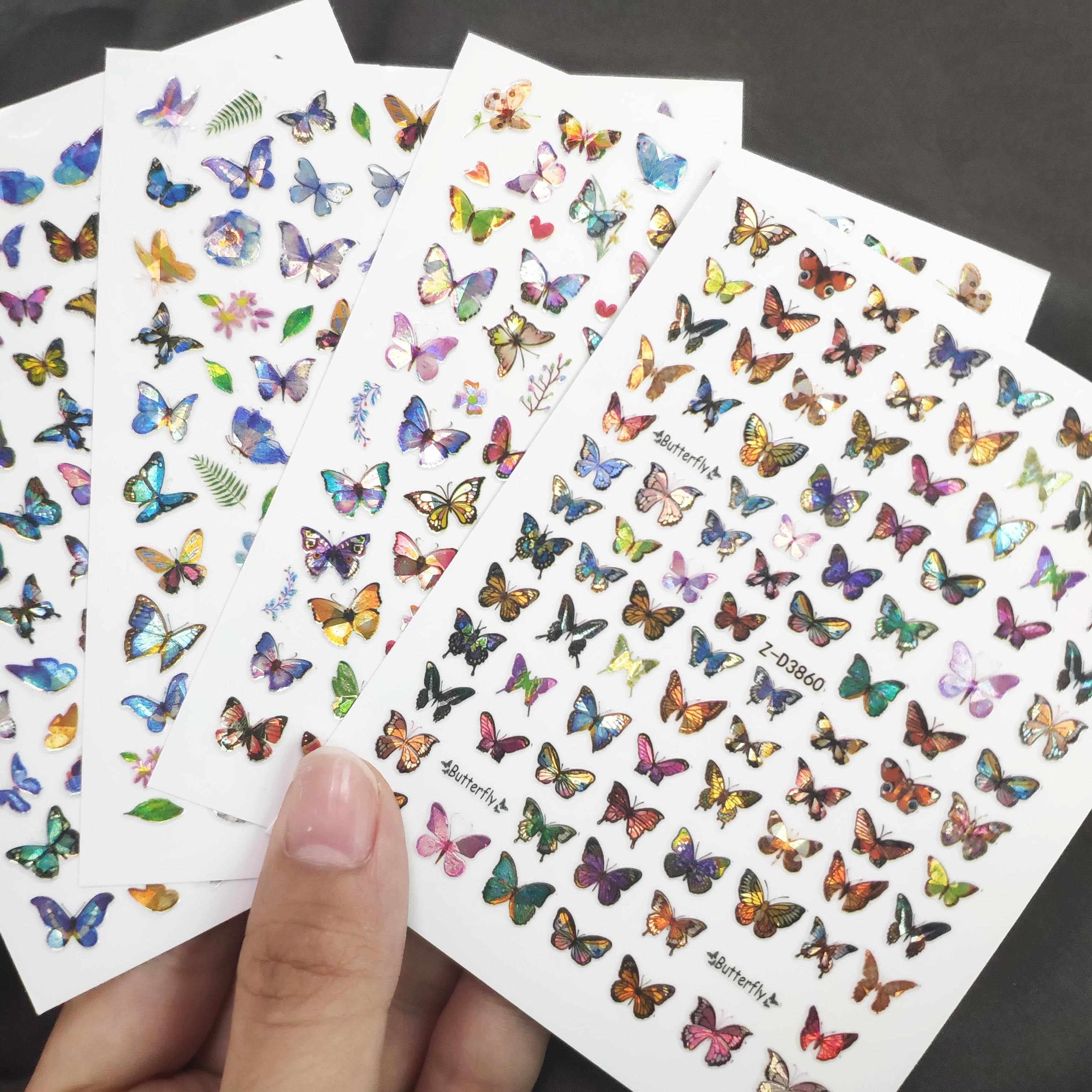 1pc Butterfly Nail Stickers Laser Adhesive Sliders Colorful Nail Decorations  Manicure Art Tips