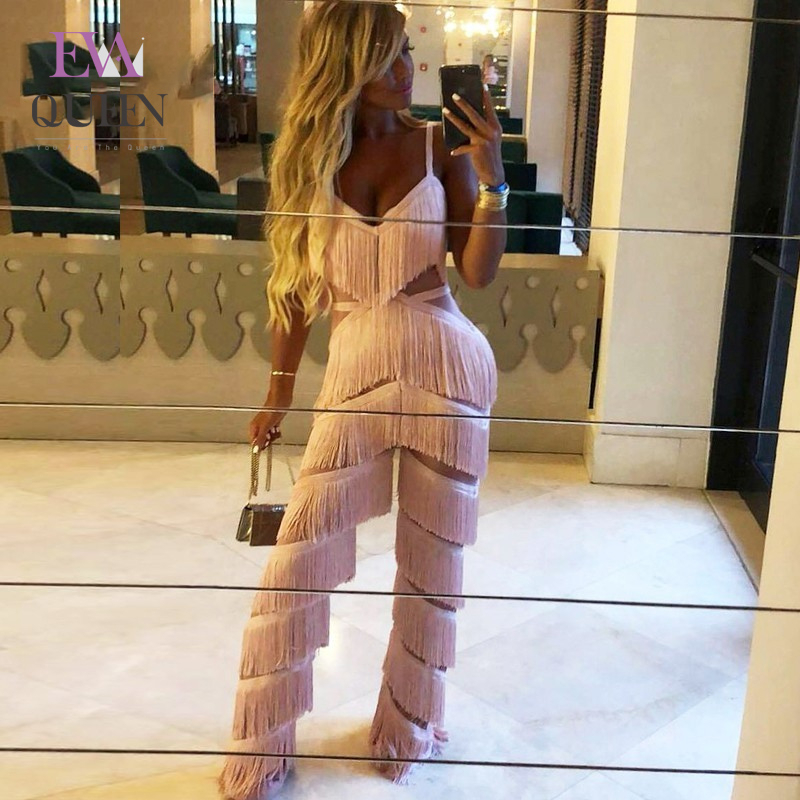 EvaQueen 2019 Fashion Autumn V Neck Tassel Bodycon Long Jumpsuit Women Elegant Backless Sexy Rompers Womens Jumpsuits Overalls