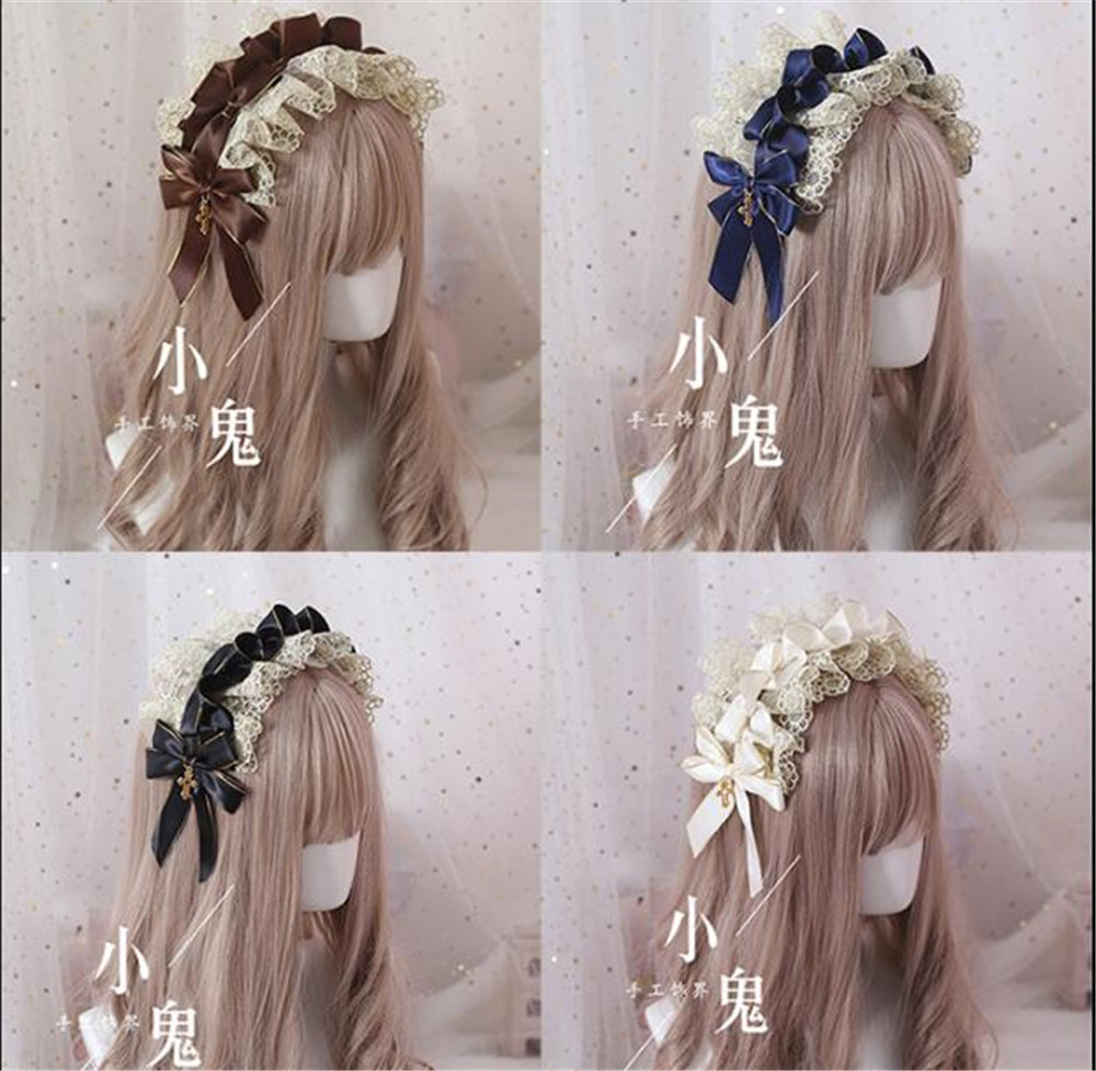 Vintage  Sweet Lolita Lace Bow Headwear Maid Hair Band  Hair Accessories Headbands Elegant Princess KC Headdress B459-in Costume Accessories from Novelty & Special Use
