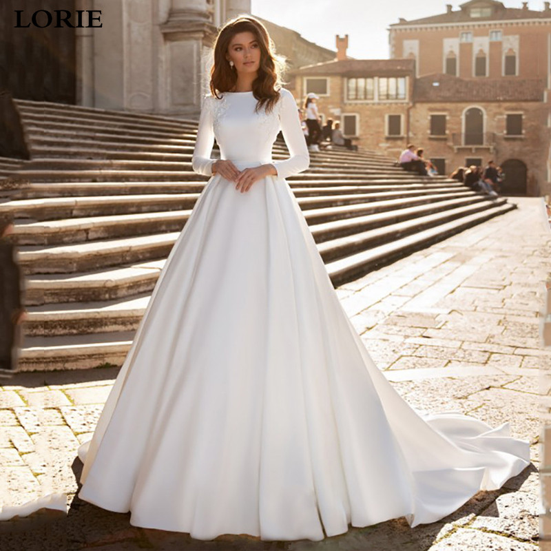 LORIE Princess Wedding Dresses Satin Long Sleeve Bride Gowns Appliqued V Back Dubai Wedding Gowns Vestido De Voiva