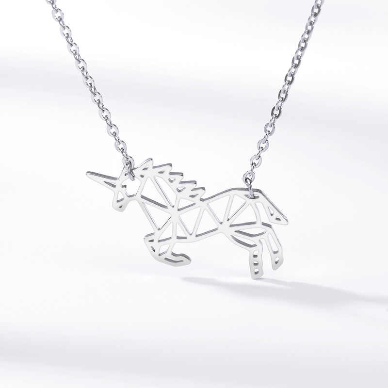 Oświadczenie Origami koń Choker naszyjnik w stylu Vintage Hollow zwierząt wisiorek kobiety mężczyźni biżuteria prezent urodzinowy Collier Homme