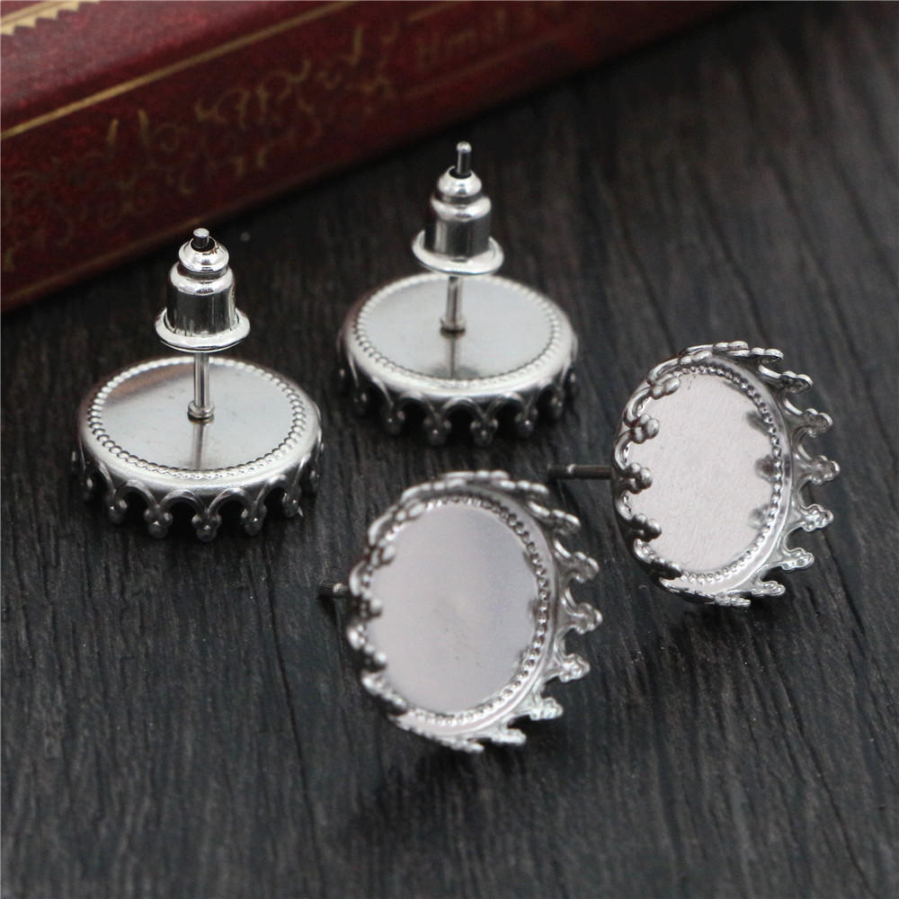 ( No Fade ) 12mm 20pcs Stainless Steel Earring Studs,Earrings Blank/Base,Fit 12mm Glass Cabochons,Buttons;Earring Bezels (T2-35)