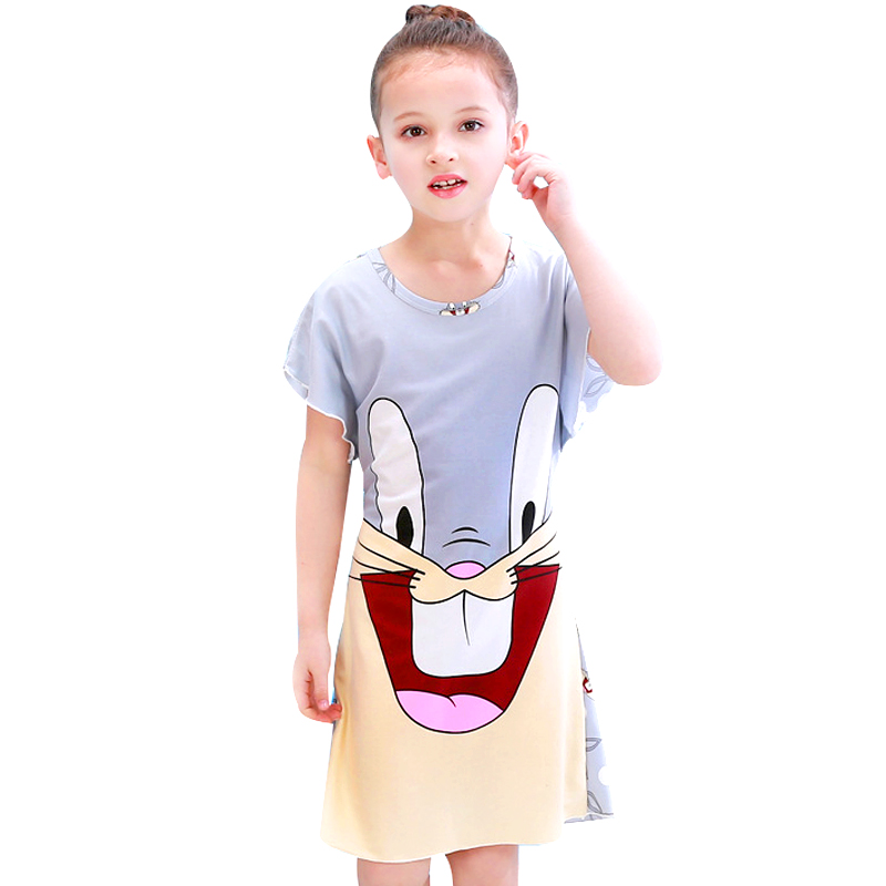 Summer 2019 New Kids Dresses For Girls Cute Print Sleeping Wear Pajama For Kids Polyester Little Girls Sleepwear Girls Nightgow