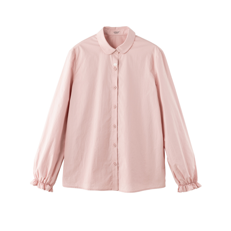 INMAN 2020 Spring New Arrival Plain Cotton Series Lapel Literary Xinjiang Cotton Long Sleeve Blouse