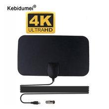 Kebidumei alta qualidade 4k 25db alto ganho hd tv dtv caixa antena de tv digital 50 milhas impulsionador ativo antena interior hd design plano
