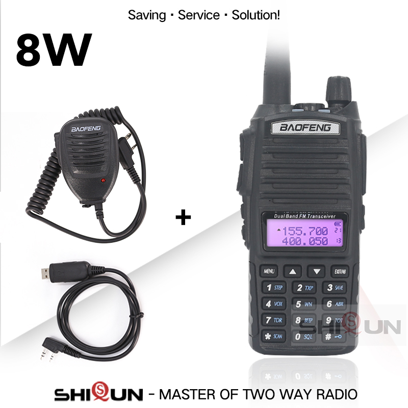 Dual PTT Original BaoFeng 8W Walkie Talkie 10 KM Dual Band Baofeng UV-82 UHF VHF Baofeng UV 82 Ham Radio 10 KM Hot Baofeng UV 9R