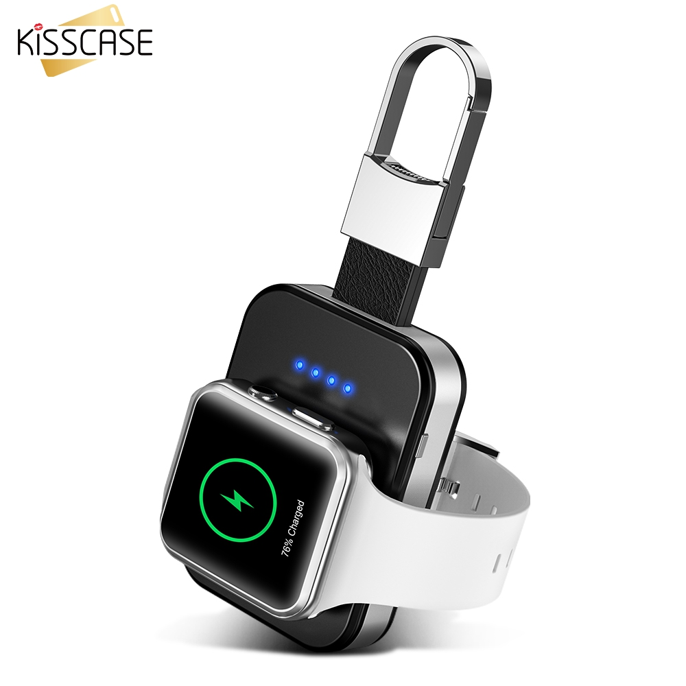 KISSCASE Original keychain Wireless Charger For Apple i Watch 1 2 3 4 950 mAh Portable Wireless Charger Power Bank For i Watch Mobile Phone Chargers     - title=