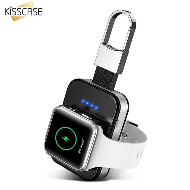 KISSCASE oryginalna bezprzewodowa ładowarka do kluczy Apple i Watch 1 2 3 4 950 mAh przenośna ładowarka bezprzewodowa Power Bank do zegarka
