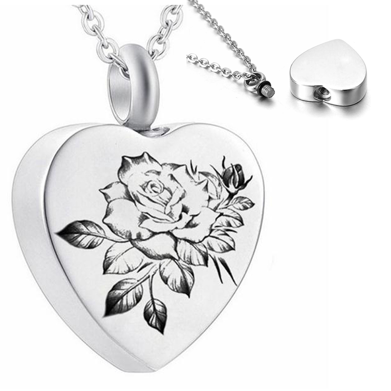 3Styles Heart Cremation Urn Necklace for Ashes Urn Jewelry Memorial Pendant with Fill Kit and Gift Velvet Bag