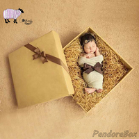 Gift Box Newborn Baby Photography Props Wooden Basket Infant fotografia Accessories Baby Photo Shoot Studio Posing Wood Bed Prop