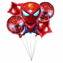 5pcs Large Spider Man Foil Balloons Red Five-star Ballons Super Hero Theme Birthday Party Decorations Kids Childrens Gift