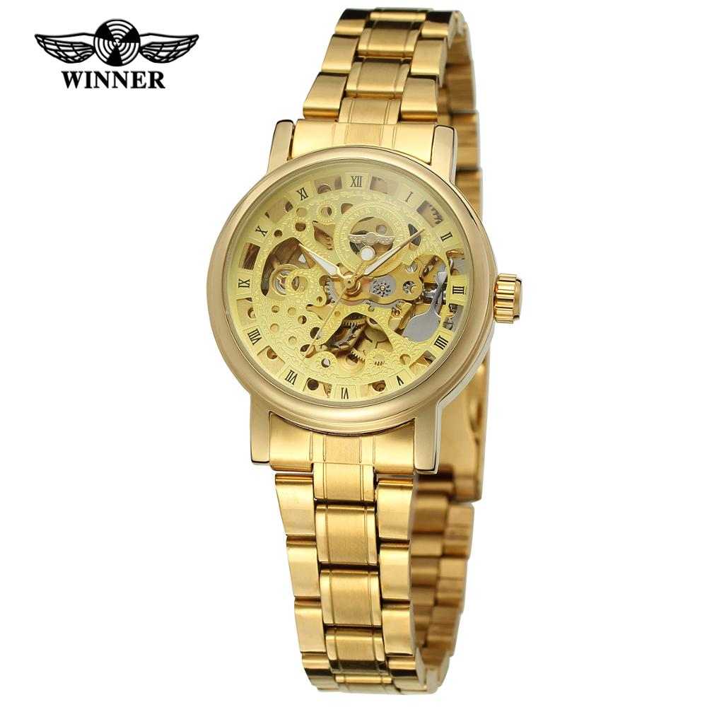 WINNER Fashion Men's And Women's Watch Stainless Steel Strap Gold Dial Automatic Mechanical Watch