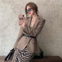 Herstory Spring Summer 2021 New Fashion Retro Loose Casual Khaki Suit Blazer Leopard Dress 2 Piece Set
