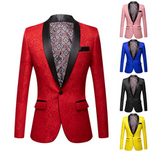 New autumn/winterPink yellow black whit 2020 European and American men's wear Long sleeve heavy jacquard Fashionable suit jacket
