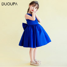 2019 Summer New Childrens Dress Fashion Princess Girl Royal Blue Pettiskirt Holiday Party Stage Costume
