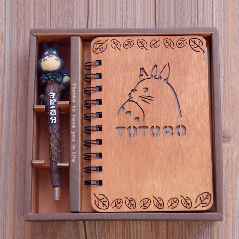My Neighbor Totoro Cartoon Anime Animals Flamingo Action Figure Printed Creative Wood Notebook Journals Books Toy Set With Pen
