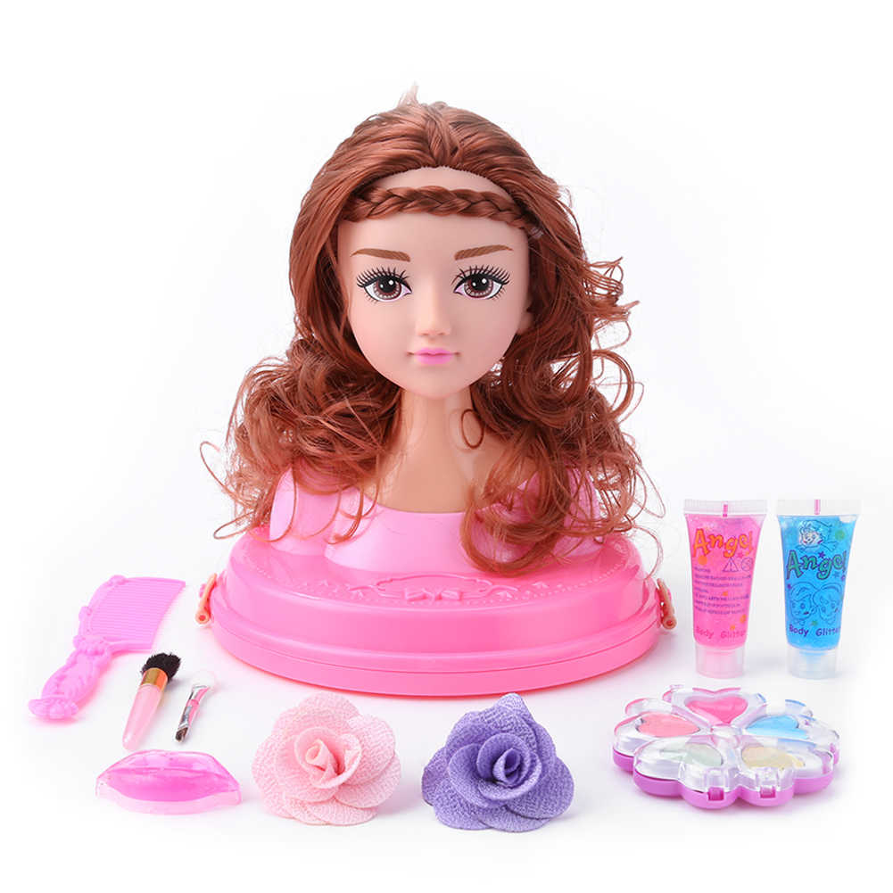 Half Body Makeup Hairstyle Doll Cosmetics Head Kid Toys for Children Girls Makeup Training Kids Birthday Christmas Gifts