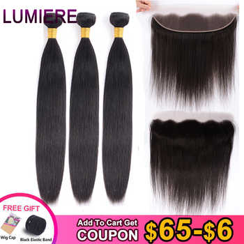 Lumiere Hair High Brazilian Straight 3 Bundles With Frontal Human Hair Weave Bundles 13x4 Lace Frontal With Bundles Non Remy - DISCOUNT ITEM  56% OFF All Category