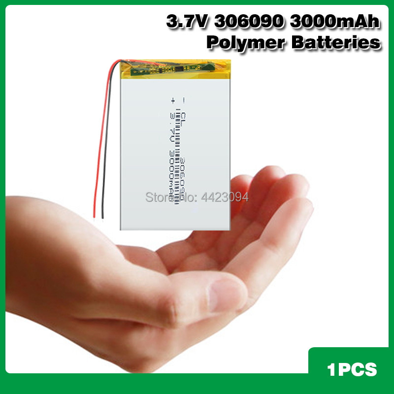 <font><b>3.7V</b></font> <font><b>3000mAh</b></font> 306090 Li-ion <font><b>Lipo</b></font> <font><b>Battery</b></font> Rechargeable Universal Backup Power Replacement <font><b>Battery</b></font> For 7 Inch Tablet PC MP4 GPS PSP image