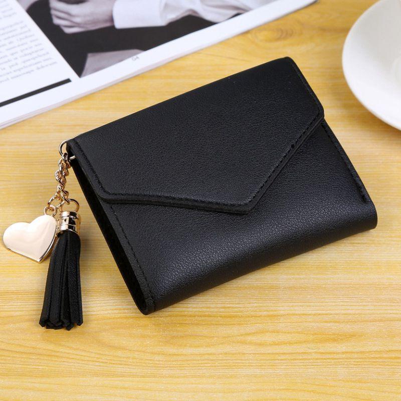 Женский кошелек, милый, студенческий, с кисточкой, с подвеской, тренд, маленький, модный, кожзам, кошелек,, кошелек для монет, для женщин, дамская сумка для карт, для женщин, LMJZ - Цвет: Черный