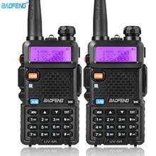 Rádio walkie talkie de banda dupla baofeng, rádio portátil bidirecional UV 5R, 5w, vhf e uhf, 2 peças uv 5r