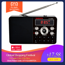 XHDATA D 318 BT FM 스테레오 라디오 미니 다기능 휴대용 라디오 수신기 블루투스 라디오에 A B 무선 전화 지원