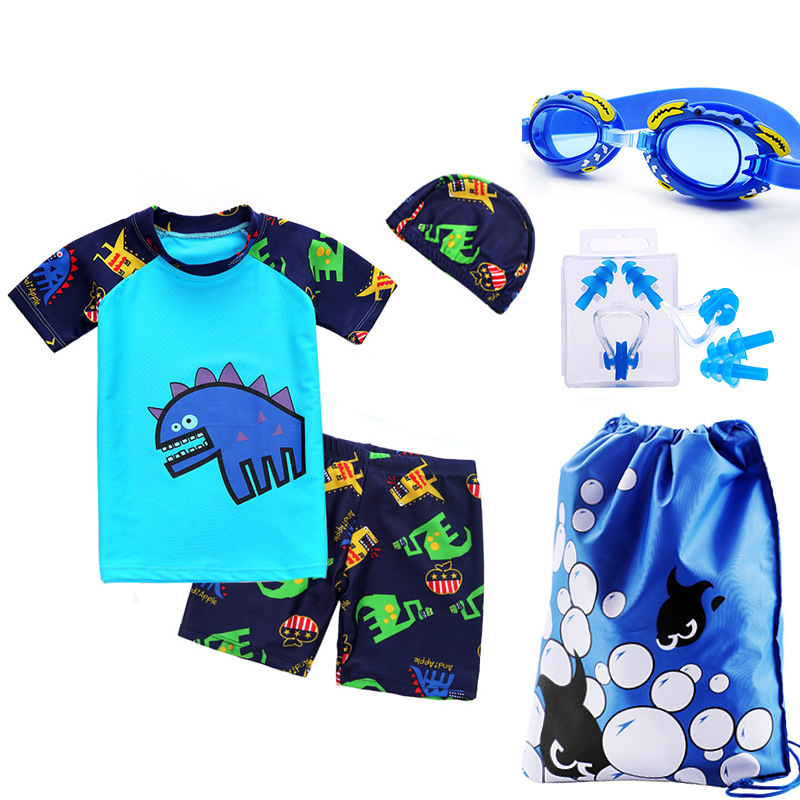 KID'S Swimwear BOY'S Swimming Trunks Set Boy Split Type Tour Bathing Suit South Korea Baby Sun-resistant Swimwear Swimming Cap S