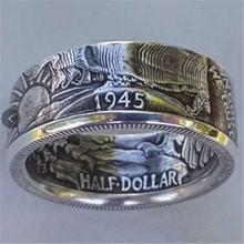 Кольцо в винтажном стиле с изображением монеты Моргана для мужчин