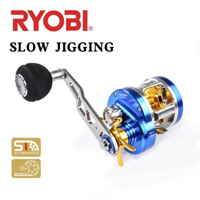 RYOBI Angeln Reel 10 + 1BB 6,8: 1 Baitcasting W30 Rechts Links Griff Max Drag 12KG Angeln Reel Köder Casting Salzwasser Trommel Rad