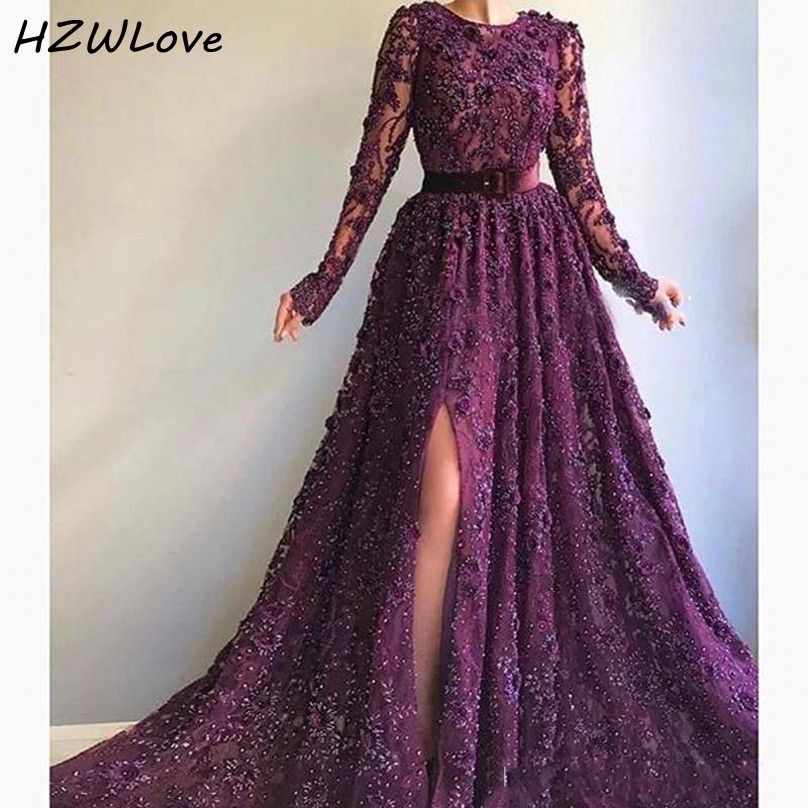 Grape Elegant Side Split Evening Dresses With Sash O Neck Beads Sequins Appliques Lace Prom Dress Long Dubai вечернее платьеEvening Dresses   -
