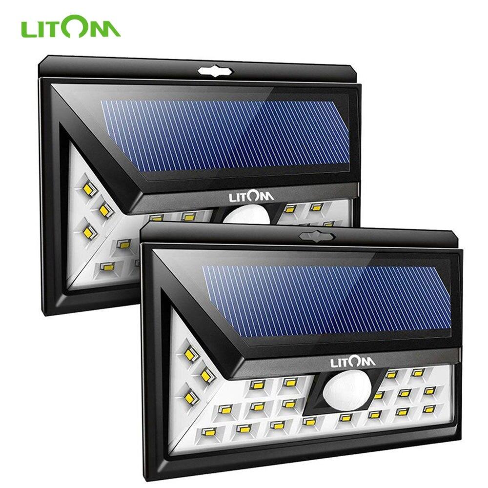 2Pack Litom 140LED Outdoor Solar Motion Sensor Wall Light Waterproof Garden Lamp