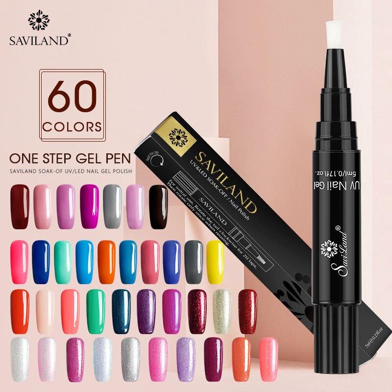 Saviland, un solo paso, laca en Gel, pintura para uñas, pluma de barniz, 3 en 1 colores, esmalte en Gel para uñas, fácil de usar, no necesita capa superior para Base de imprimación