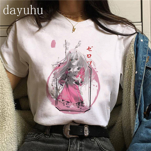 Kawaii Japanese Anime Darling In The Franxx Zero Two T Shirt Women Harajuku Graphic Tees Tops Unisex Tshirt Female T-shirt Manga 5