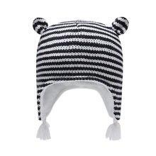 Зимняя шапка для мальчиков и девочек ушанка флисовая полосатая