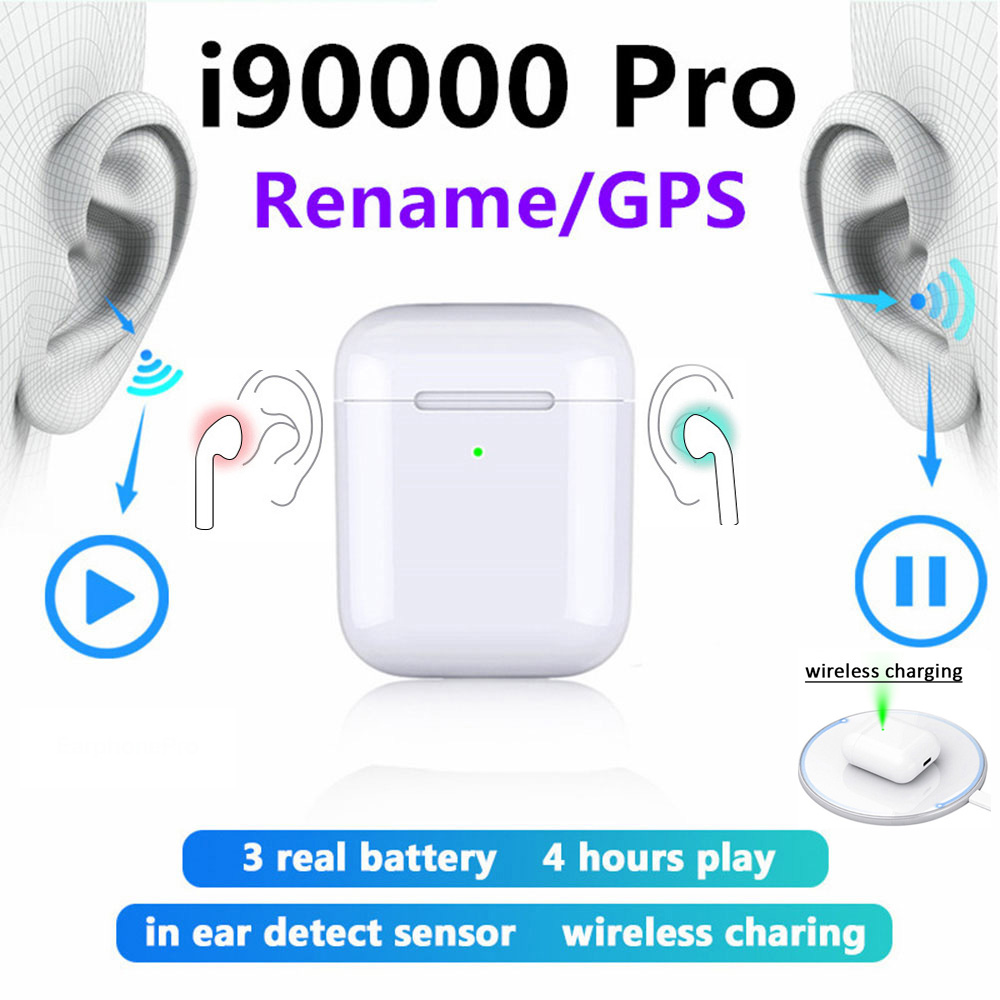 I90000 Pro Tws Rename GPS I 90000 Max Pro Wireless Bluetooth Mini Stereo Earphones Earbuds 1:1 Pk I9000 I50000 I1000 Aire 2 3