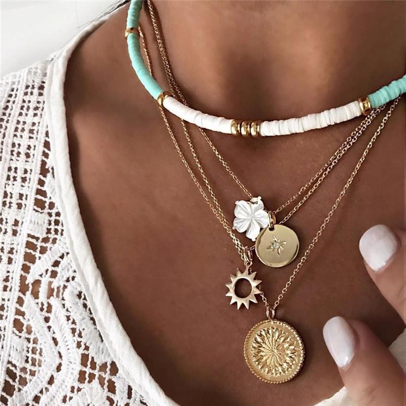 Чокер женский из полимерной глины, многослойное ожерелье золотистого цвета с подвеской в виде подсолнуха, Ювелирное Украшение в богемном с...