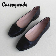 цены на Careaymade-Square Head and Flat Bottom Work Commuter Single Shoes,Shallow Mouth Soft Bottom Cattle Leather Breathable Lady Shoes  в интернет-магазинах