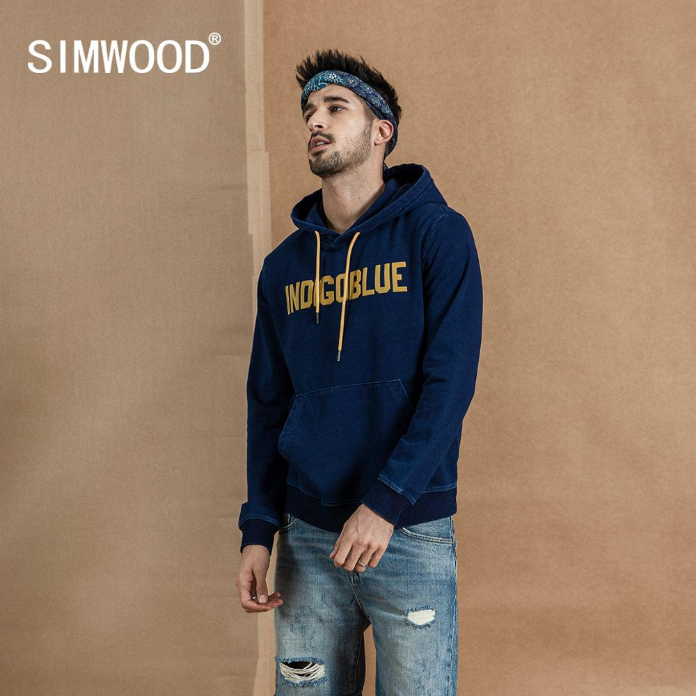 SIMWOOD 2019 Autumn Winter New Indigo Wash Hoodies Fashion Letter Print Vintage Sweatshirt Hip Hop Streetwear Hoodie 190396